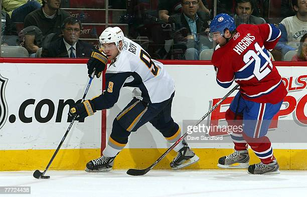 Christopher Higgins of the Montreal Canadiens skates after Derek Roy of the Buffalo Sabres during their NHL game at the Bell Centre November 5 2007...