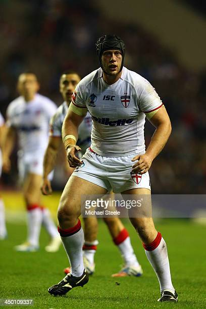 Christopher Hill of England during the Rugby League World Cup Quarter Final match between England and France at the DW Stadium on November 16 2013 in...