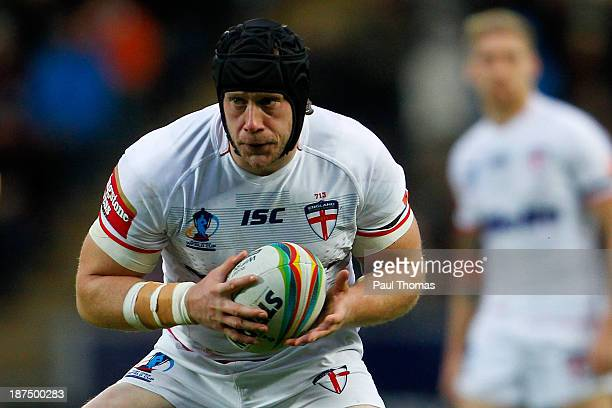 Christopher Hill of England in action during the Rugby League World Cup Group A match at the KC Stadium on November 9 2013 in Hull England