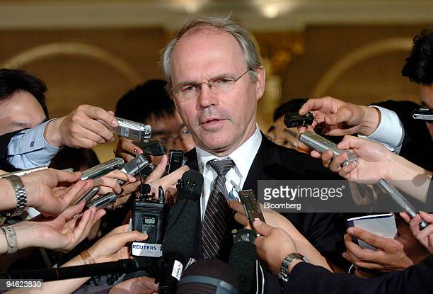 Christopher Hill US assistant secretary of state speaks to reporters as he arrives at a dinner reception with Chun Yung Woo South Korean ambassador...