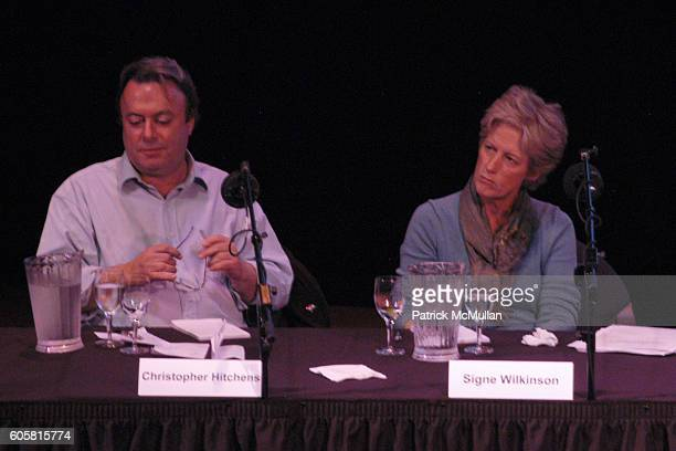 Christopher Hitchens and Signe Wilkinson attend INTELLIGENCE SQUARED presents 'Freedom of Expression Must Include the License to Offend' Debate at...