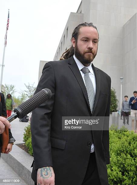 Christopher Hollosy leaves the H Carl Moultrie I Superior Court House where Chris Brown and his assualt trials are taking place on April 18 2014 in...