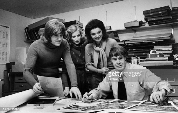 Christopher Holme Gael Towey Dillon Jacqueline Onassis and Bryan Holme in the Studio Books Department at the Viking Press in New York