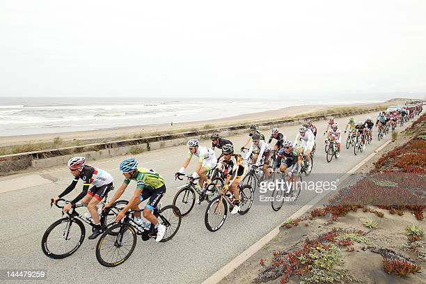Christopher Horner of the United States and team RadioShack-Nissan and Heinrich Haussler of Australia and riding for Garmin-Barracuda lead the...