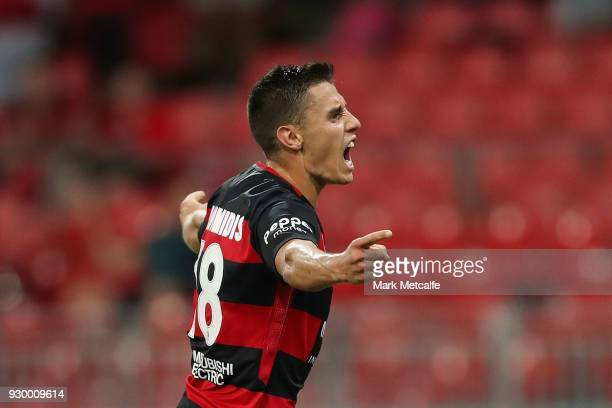 Christopher Ikonomidis of the Wanderers celebrates scoring a goal during the round 22 ALeague match between the Western Sydney Wanderers and the...