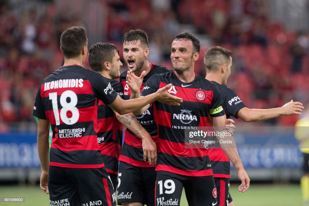 Christopher Ikonomidis of the Wanderers celebrates scoring a goal during the round 22 A-League match between the Western Sydney Wanderers and the Wellington Phoenix at Spotless Stadium on March 10, 2018 in Sydney, Australia.