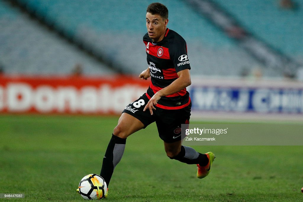 Christopher Ikonomidis of the Wanderers controls the ball during the round 27 A-League match between the Western Sydney Wanderers and Adelaide United at ANZ Stadium on April 15, 2018 in Sydney, Australia.