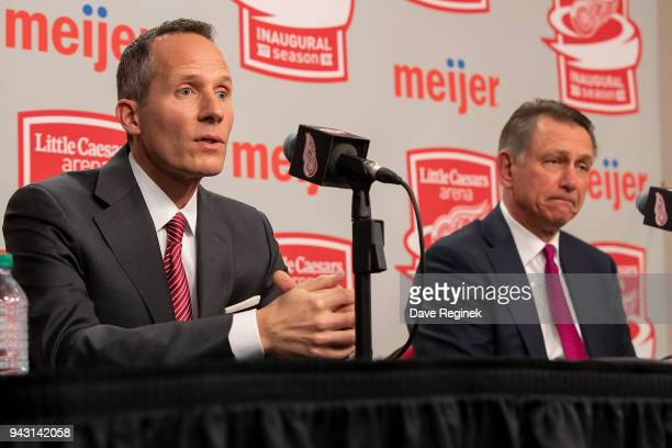 Christopher Ilitch President and CEO Ilitch Holdings Inc Governor President and CEO Detroit Red Wings holds a press conference announcing the two...