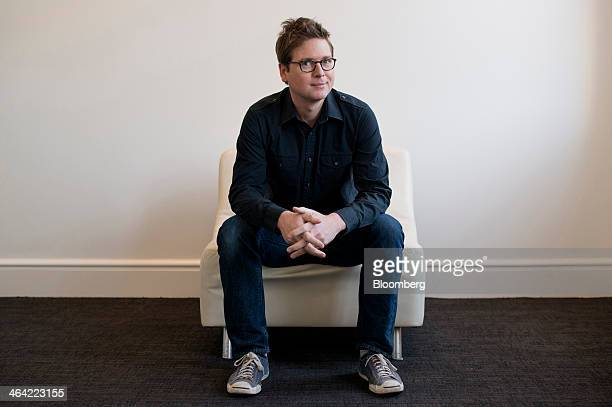 Christopher Isaac Biz Stone chief executive officer of Jelly Industries Inc and cofounder of Twitter Inc sits for a photograph after a Bloomberg West...