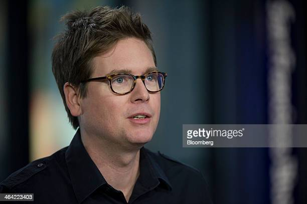 Christopher Isaac Biz Stone chief executive officer of Jelly Industries Inc and cofounder of Twitter Inc speaks during a Bloomberg West television...