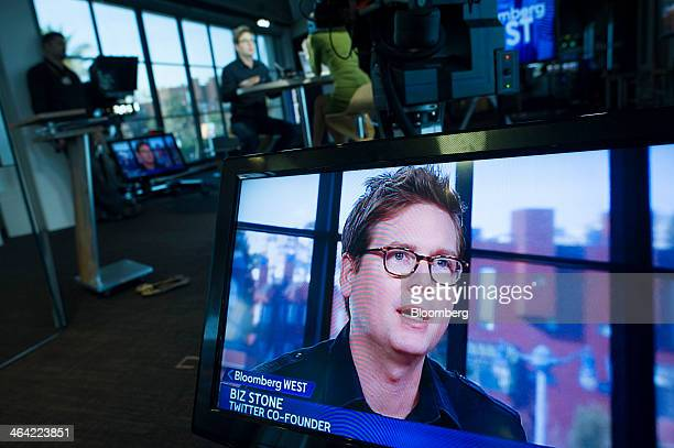 Christopher Isaac Biz Stone chief executive officer of Jelly Industries Inc and cofounder of Twitter Inc is seen speaking on a monitor during a...
