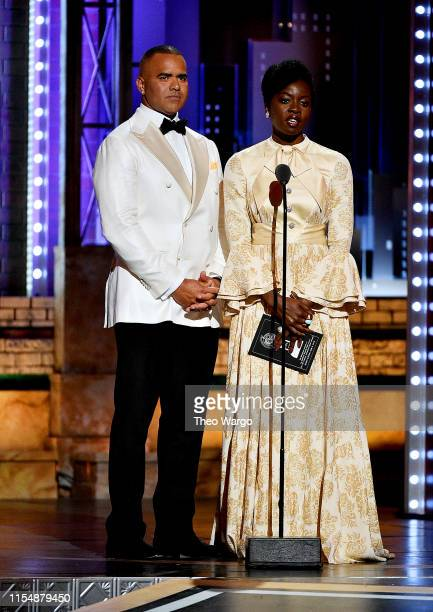Christopher Jackson and Danai Gurira present an award onstage during the 2019 Tony Awards at Radio City Music Hall on June 9 2019 in New York City