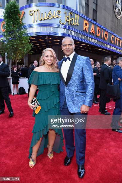 Christopher Jackson and Veronica Jackson attend the 2017 Tony Awards at Radio City Music Hall on June 11 2017 in New York City