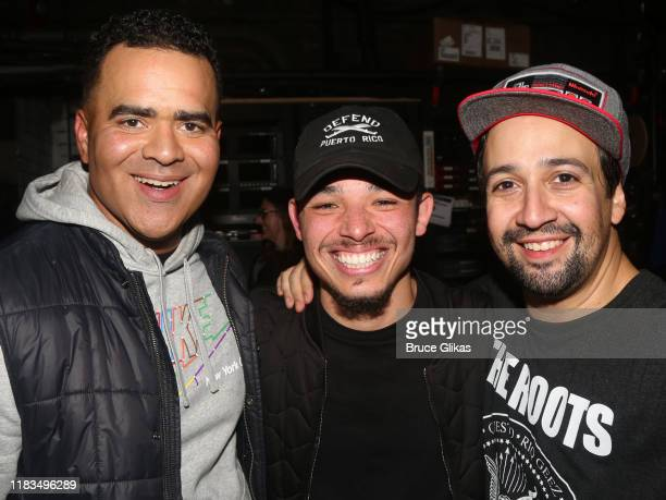 "Christopher Jackson, Anthony Ramos and Lin-Manuel Miranda pose backstage at the new hip-hop musical ""Freestyle Love Supreme"" on Broadway at The Booth..."