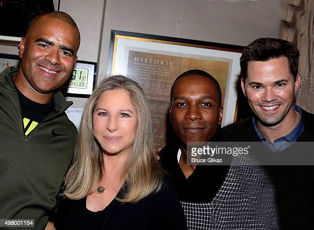 "Christopher Jackson, Barbra Streisand, Leslie Odom Jr and Andrew Rannells pose backstage at the hit musical ""Hamilton"" on Broadway at The Richard..."