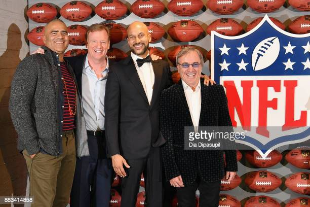 Christopher Jackson Roger Goodell KeeganMichael Key and Daniel Lamarre pose for a photo during the NFL Experience Times Square opening celebration on...