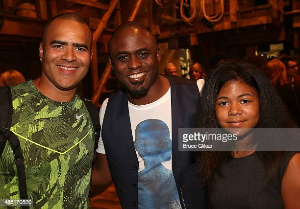 Christopher Jackson Watne Brady and Maile Masako Brady pose backstage at the hit musical Hamilton on Broadway at The Richard Rogers Theater on August...
