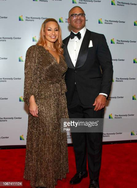 Christopher Jackson who was nominated for a Tony Award for originating the role of George Washington in Hamilton arrives with his wife Veronica...