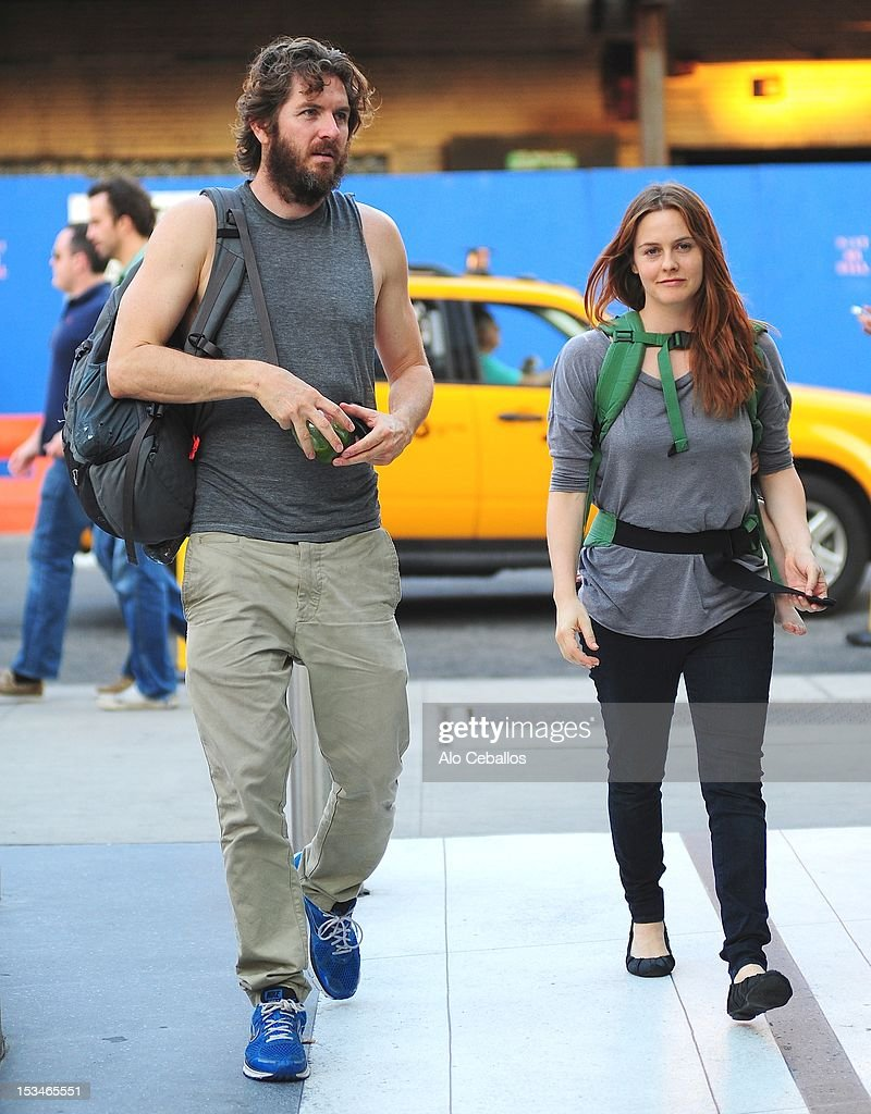 Christopher Jarecki and Alicia Silverstone are seen in the Meatpacking District on the streets of Manhattan on October 5, 2012 in New York City.