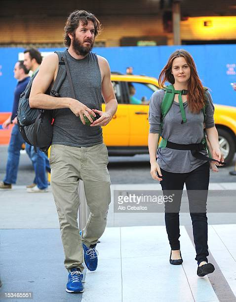 Christopher Jarecki and Alicia Silverstone are seen in the Meatpacking District on the streets of Manhattan on October 5 2012 in New York City