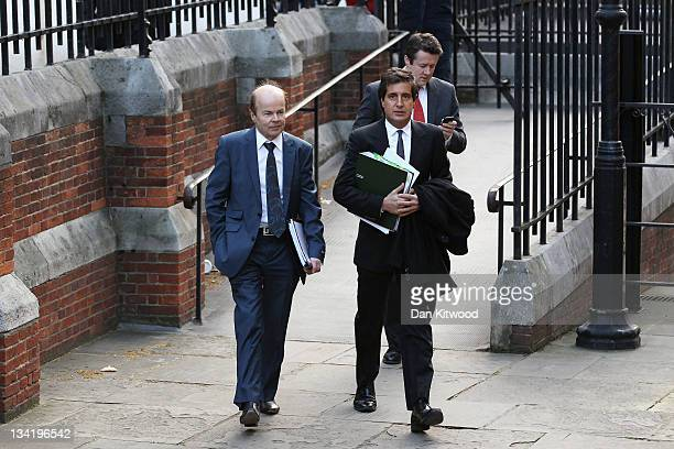 Christopher Jefferies who was wrongly accused of Joanna Yeates' murder arrives with his lawyer David Sherborne to give evidence to The Leveson...