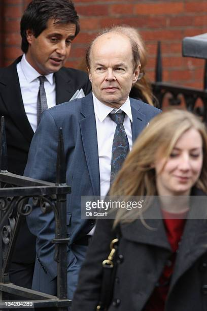 Christopher Jefferies who was wrongly accused of Joanna Yeates' murder leaves with his lawyer David Sherborne after giving evidence to The Leveson...
