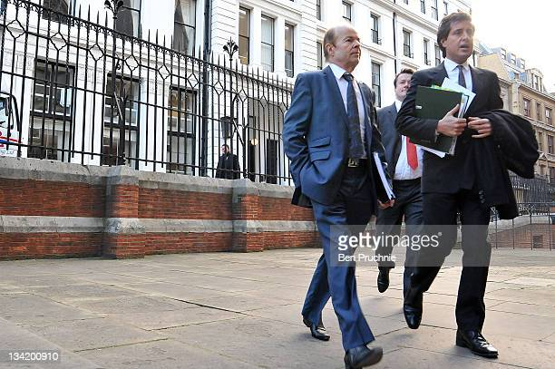 Christopher Jefferies who was wrongly accused of Joanna Yeates's murder arrives with his lawyer David Sherborne to give evidence to The Leveson...