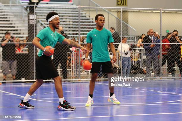 Christopher Jefferson and Jelani Winston play in the 2019 BET Experience Celebrity Dodgeball Game at Staples Center on June 21 2019 in Los Angeles...