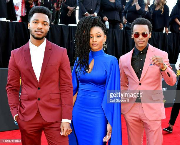 Christopher Jefferson Katlyn Nichol and Jelani Winston attend the 34th annual Stellar Gospel Music Awards at the Orleans Arena on March 29 2019 in...