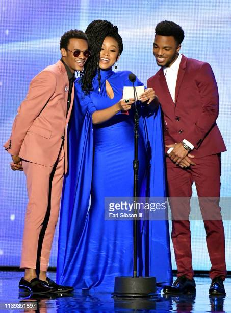Christopher Jefferson, Katlyn Nichol and Jelani Winston speak during the 34th annual Stellar Gospel Music Awards at the Orleans Arena on March 29,...
