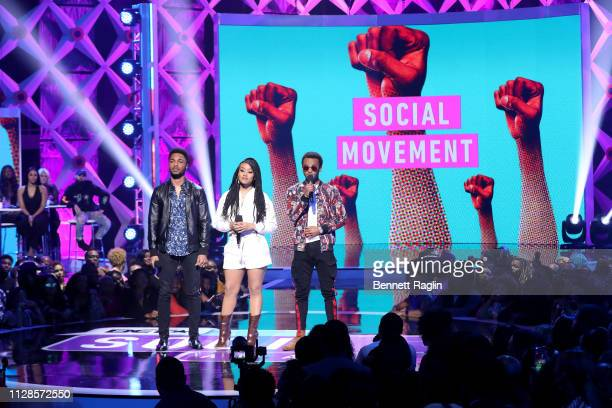 Christopher Jefferson, Katlyn Nichol, and Jelani Winston speak onstage during the 2019 BET Social Awards at Tyler Perry Studio on March 3, 2019 in...