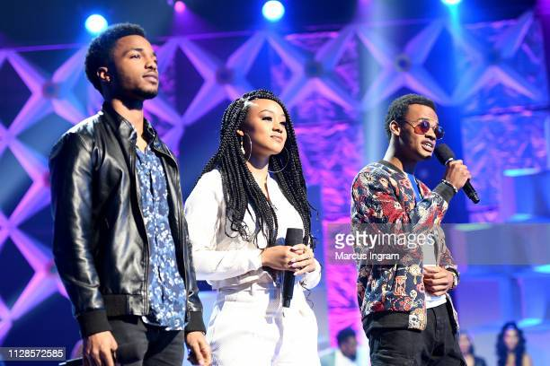 Christopher Jefferson Katlyn Nichol and Jelani Winston speak onstage during the 2019 BET Social Awards at Tyler Perry Studio on March 3 2019 in...