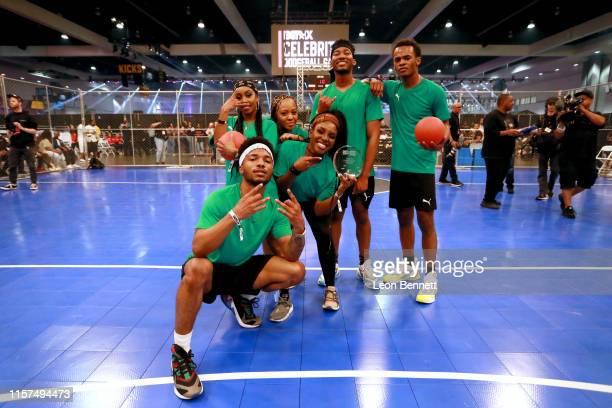 Christopher Jefferson Tetona Jackson Perri Camper Karen Obilom RJ Walker and Jelani Winston play in the 2019 BET Experience Celebrity Dodgeball Game...
