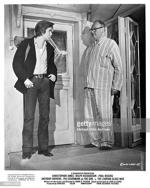 Christopher Jones and Ralph Richardson in a scene from the film 'The Looking Glass War' 1969