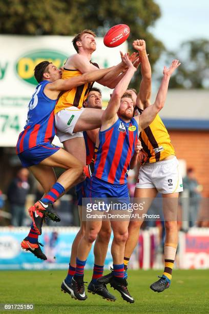 Christopher Jones of Box Hill takes a mark during the round seven VFL match between Port Melbourne and Box Hill at North Port Oval on June 3, 2017 in...