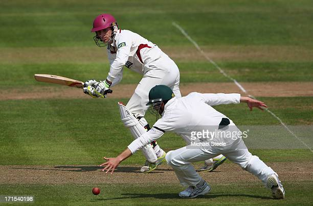 Christopher Jones of Somerset guides a shot to the legside past Ed Cowan of Australia during day one of the Somerset versus Australia tour match at...