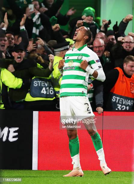 Christopher Jullien of Celtic celebrates after he scores the winning goal during the UEFA Europa League group E match between Celtic FC and Lazio...