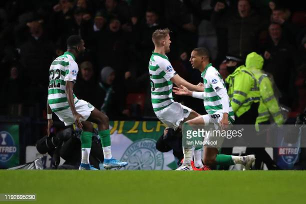 Christopher Jullien of Celtic celebrates with teammates after scoring his team's first goal during the Betfred Cup Final between Rangers FC and...