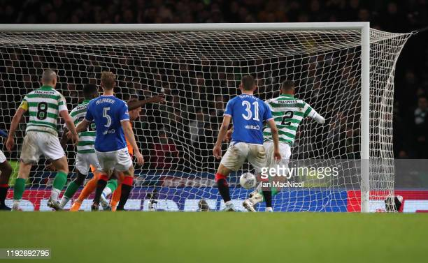 Christopher Jullien of Celtic scores his team's first goal during the Betfred Cup Final between Rangers FC and Celtic FC at Hampden Park on December...