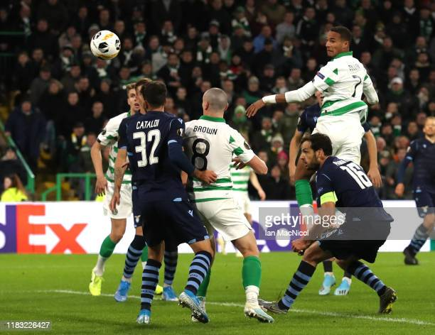Christopher Jullien of Celtic scores his team's second goal during the UEFA Europa League group E match between Celtic FC and Lazio Roma at Celtic...