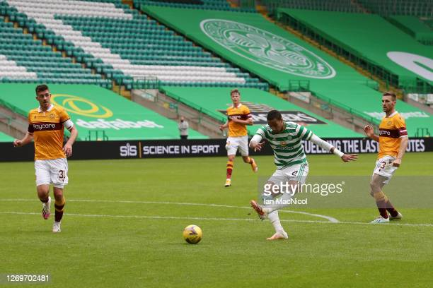 Christopher Jullien of Celtic scores his team's third goal during the Ladbrokes Scottish Premiership match between Celtic and Motherwell at Celtic...