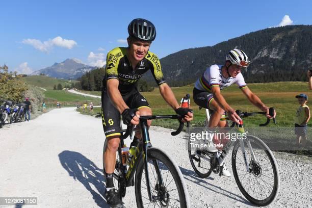 Christopher Juul Jensen of Denmark and Team Mitchelton - Scott / Mads Pedersen of Denmark and Team Trek - Segafredo / Montée du plateau des Glières /...