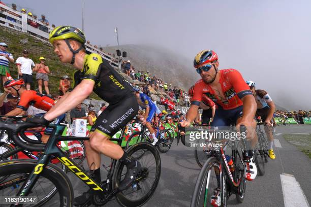Christopher Juul Jensen of Denmark and Team Mitchelton-Scott / Sonny Colbrelli of Italy and Team Bahrain-Merida / Col de Tourmalet / Mountains / Fans...