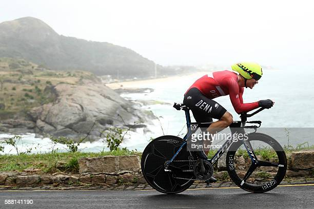 Christopher Juul Jensen of Denmark competes in the Cycling Road Men's Individual Time Trial on Day 5 of the Rio 2016 Olympic Games at Pontal on...