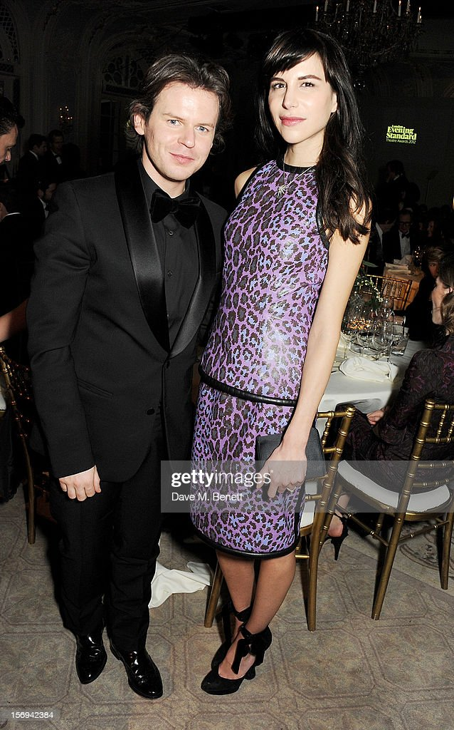 Christopher Kane (L) and Caroline Sieber attend a drinks reception at the 58th London Evening Standard Theatre Awards in association with Burberry at The Savoy Hotel on November 25, 2012 in London, England.