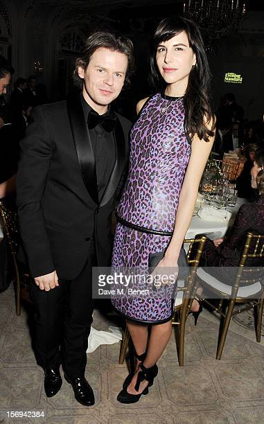 Christopher Kane and Caroline Sieber attend a drinks reception at the 58th London Evening Standard Theatre Awards in association with Burberry at The...