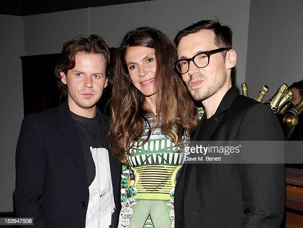 Christopher Kane founder of the Emdash Foundation Andrea Dibelius and Erdem Moralioglu attend a private dinner hosted by Matthew Slotover and Amanda...