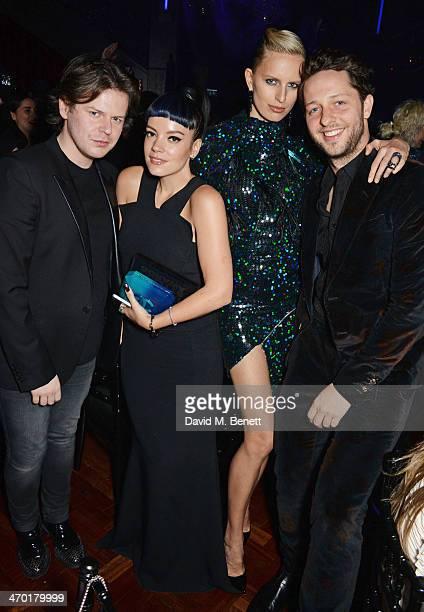 Christopher Kane, Lily Allen, Karolina Kurkova and Derek Blasberg attend the Elle Style Awards 2014 after party at One Embankment on February 18,...