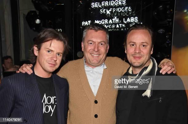 Christopher Kane Markus Lupfer and Nicholas Kirkwood attend the Pat McGrath x Selfridges 'A Technicolour Odyssey' launch party at Selfridges on April...