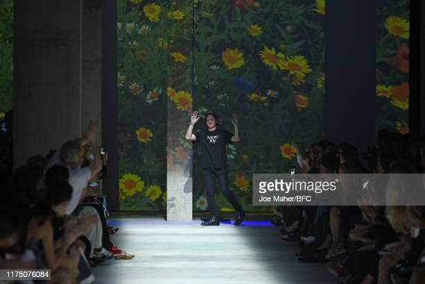 Christopher Kane on the runway at the Christopher Kane show during London Fashion Week September 2019 at Hawley Wharf on September 16, 2019 in...